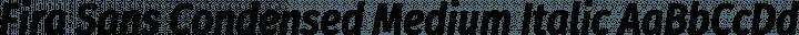 Fira Sans Condensed Medium Italic free font