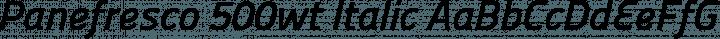 Panefresco 500wt Italic free font