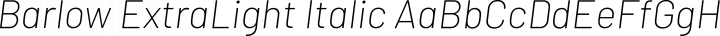 Barlow ExtraLight Italic free font