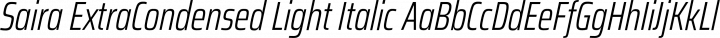 Saira ExtraCondensed Light Italic free font